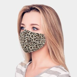 Brown leopard print mask